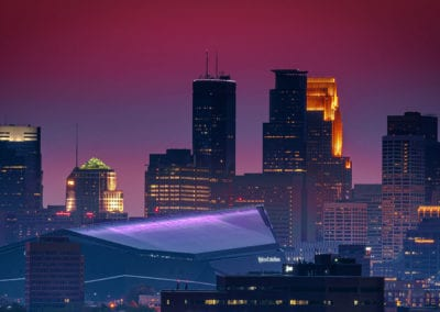 Smokeu Sunset Downtown Minneapolis MN